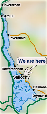 We are four miles north of the Oak Tree Inn at Balmaha and three miles south of the Rowardennan Hotel, at Sallochy, on the east shore of Loch Lomond